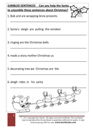 christmas theme jumbled sentences by coreenburt teaching