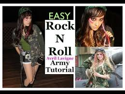 Rock Roll Halloween Costumes Easy Rock Roll Avril Lavigne Army Halloween Tutorial