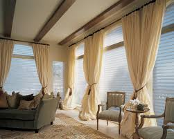 Living Room Modern Window Treatment Ornate Brown Valance Combined Painted Wall And White Venetian