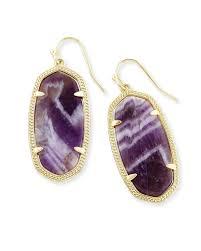 elle gold drop earrings in amethyst kendra scott