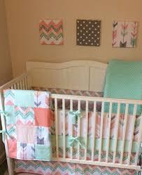 Aqua And Grey Crib Bedding Nursery Beddings Mint Coral And Grey Crib Bedding As Well As