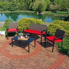 outdoor ls for patio sunnydaze kula 4 piece rattan patio furniture lounger set with red