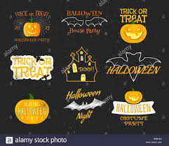 set of vintage happy halloween badges labels logos halloween
