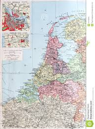 old 1945 map of netherlands or holland stock illustration image