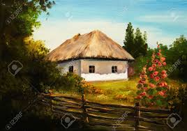 Painting House by Oil Painting House In The Forest Stock Photo Picture And