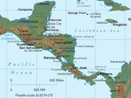 central america physical map central america map maps of central america