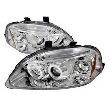 honda civic headlight 99 00 honda civic chrome dual halo projector led headlights