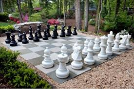 Outdoor Checker Table Made From Megachess Premium Chess Pieces Complete Set With