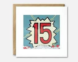 15th birthday card etsy