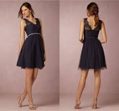 bhldn navy blue bridesmaid dresses 2017 a line v neck knee length