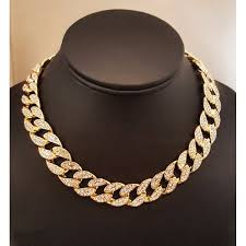 crystal link necklace images Uwin iced out bling rhinestone crystal goldgen finish miami cuban jpeg
