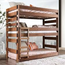 3 Tier Bunk Bed Julian 3 Level Size Bed In Rustic Finish 3 Level Bunk Beds
