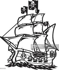 pirate ship outline vector art getty images