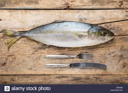 Wooden Table Top View Seafood Culinary Recipe Background Tuna Fish On Wood Table Top