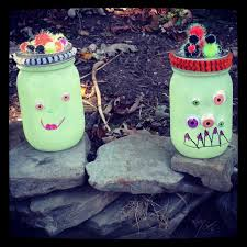 halloween monsters glow in the dark mason jars