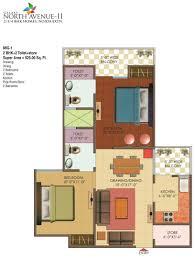 2bhk floor plan floor plans galaxy north avenue 2 noida extension