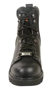mens black leather short lace up boots w side zipper
