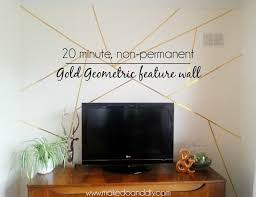 Feature Wall by How To Create A Gold Geometric Feature Wall In 20 Minutes And