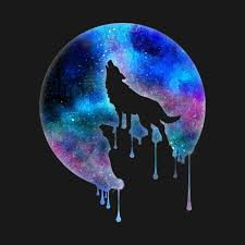 howling wolf moon watercolour trend splatter