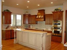 how to kitchen island from cabinets kitchen stained cabinets with white island these glazed knotty