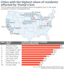 travel ban images Cities where trump 39 s travel ban may hit the hardest in two maps jpg