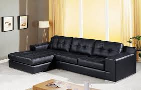 black leather modern sectional sofa with tufted cushions sofa