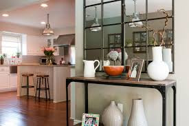 Mirrored Entry Table Mirrored Entry Table With Kitchen Transitional And Industrial Wall