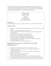 Aerobics Instructor Resume Fitness Consultant Sample Resume