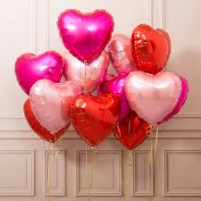 valentines ballons inflated one dozen s heart foil balloons by bubblegum