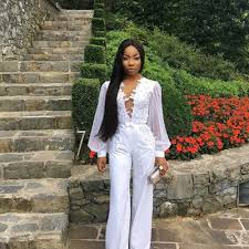 white jumpsuit wedding mocheddah wows in a stunning white jumpsuit to seyi tinubu s wedding