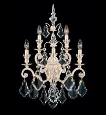 Crystal Wall Sconce by Schonbek 2763 48 Versailles 5 Light Antique Silver Crystal