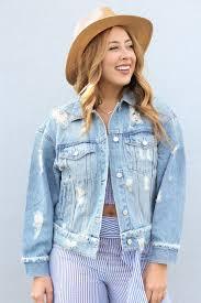 light distressed denim jacket distressed denim jacket light blue shoreline sugars boutique