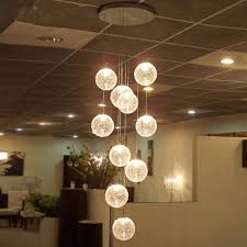 modern led chandelier round glass globle long stair lighting e27