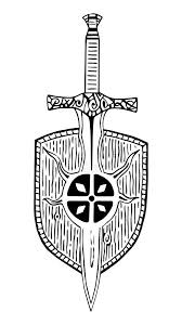 pattern viking sword shield ancient tattoo black and white stock