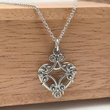 steel heart necklace images Medieval scrollwork feminine rocker chic heart necklace loralyn jpg