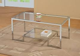 glass coffee table with glass shelf amazon com chrome metal glass accent coffee cocktail table with