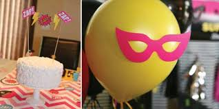 Pink And Yellow Birthday Decorations Bam Superhero Birthday Party Theme Bigdotofhappiness Com