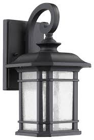 Lamp Sconce Textured Black Finish Outdoor Wall Sconce Glass Cylinder Lantern