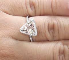 8mm diamond 14k white gold 8mm morganite trillion and diamonds halo ring