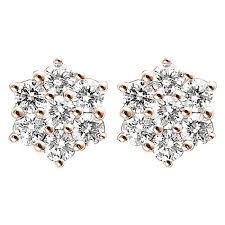 diamond earrings india 0 46ct f i1 diamond cluster stud earrings with hexagon design