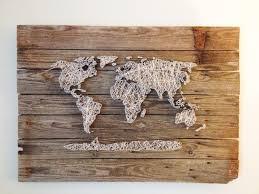 Etsy World Map by World Map Reclaimed Barn Door Wood String Art Wall Decor 39 X 29