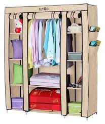 Wardrobe Closet Organizer by Yutiriti Fancy Triple Door Large Cream Portable Multipurpose