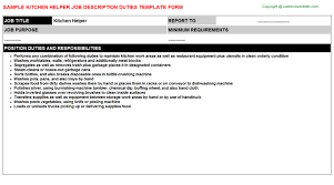 Sample Resume For Kitchen Helper Kitchen Helper Job Title Docs