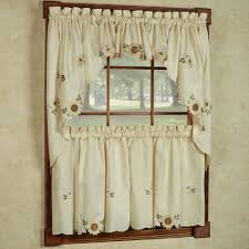 Sunflower Yellow Curtains Embroidered Sunflower Kitchen Curtains Separates Tier Swag And