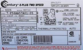 ao smith spa pump motors tub motors b235 century spa