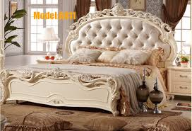 free shipping white royal wood carving princess design two beds