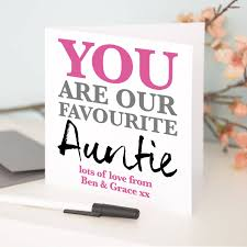 personalised u0027favourite auntie u0027 birthday card by a type of design