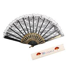 lace fans metable lace folding fan with plastic ribs women held fans