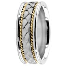 two tone wedding bands handmade weave wedding band ring 18k two tone gold