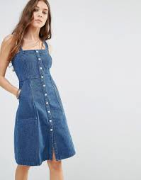 denim pinafore dress by honey punch blue